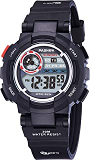 PASNEW Kid Watch Multi Function Digital-Analog Sport Watches for 4-Year Old or Above Children-Black