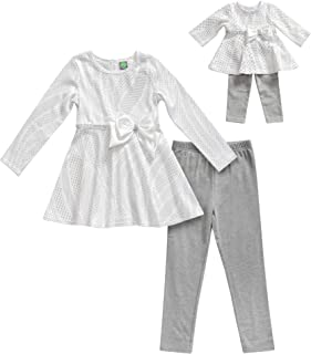 Girls' Apparel Glitter Top with Leggings & Doll Outfit