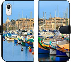 MSD Premium Phone Case Designed for iPhone XR Flip Fabric Wallet Case Image ID: 21599922 Boats in The Bay of Valletta in Malta