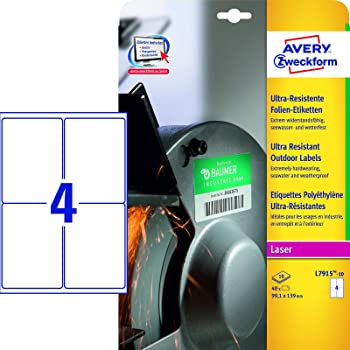 Folienetiketten AVERY Zweckform L7915-40-ZF 99.1 x 139.0 mm Weiß Permanent Hafte