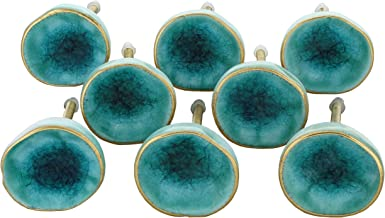 G Decor England Set of 8 Sea Dark Green Ceramic Door Knobs Contemporary Cabinet Pulls for Cabinets, Drawers and Dressers–D...