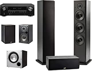 Polk Audio 5.1 Channel Home Theater System with Powered Subwoofer & Denon AVR-S650H Receiver | Two (2) T15 Bookshelf, One...