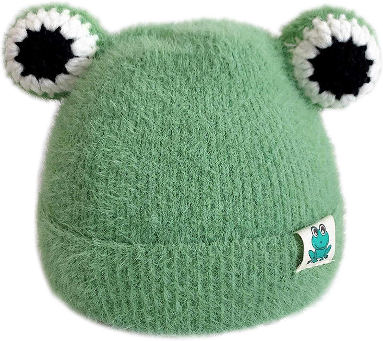 Lowral Bonnet chaud dhiver tricot/é en peluche pour b/éb/é avec yeux de grenouille et t/ête de mort