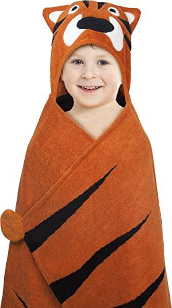 Hooded Towel For Kids Oversize Cotton Character Hood Towel Makes Getting Dry Fun Ideal Beach Towels For Toddlers And Small Children Use At The Pool Or Bath Time 27 X 47 Tiger