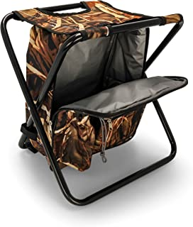 featured product Camco Folding Camping Stool Backpack Cooler Trio- Camping/Hiking Bag with Waterproof Insulated Cooler Pockets and Sturdy Legs for Seating,  Great For Travel - Camouflage (51908)