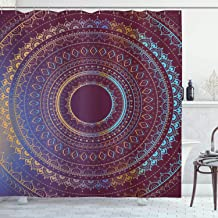 Mandala Shower Curtain by Ambesonne, Ethnic Symbol of Cosmos Floral Ombre Details, Fabric Bathroom Decor Set with Hooks, 84 Inches Extra Long, Plum Sky Blue and Apricot