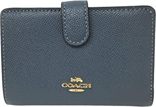 Coach Crossgrain Leather Medium Corner Zip Wallet F11484 Denim Blue