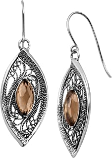 Mesquite' 3 3/8 ct Natural Smokey Quartz Marquise Drop Earrings in Sterling Silver