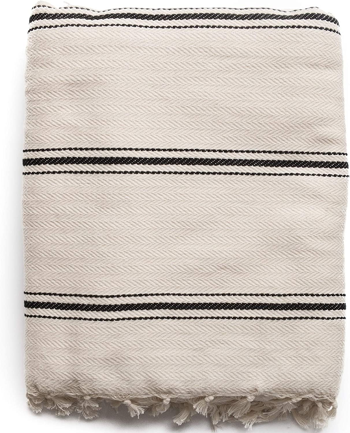 The Loomia Turkish Cotton Blanket - Sophie Boho Series (100% Turkish Cotton, 74  X 98  Full-Queen Size, Cream-Beige Black)