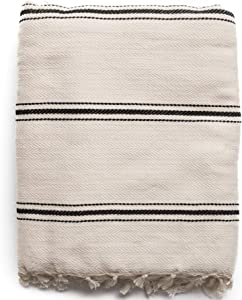 "THE LOOMIA Sophie Turkish Cotton Boho Throw Blanket (Extra Large 65"" X 85"" Full-Size, Cream Ecru Base with Black Stripes)"
