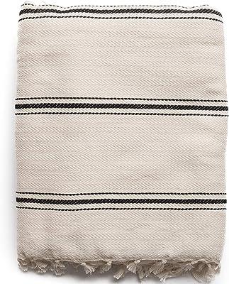 "The Loomia Turkish Cotton Blanket - Sophie Handloom Boho Series (100% Turkish Cotton, 74"" X 98"" Full-Queen Size, Cream-Beige Black)"