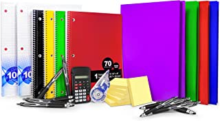 Back to School Supplies Elementary School, High School, College, 30 Pcs. | Includes Notebooks + 2-Pocket Folders + Loose Leaf Paper + Calculator + Sticky Notes + Pens + Correction Tape