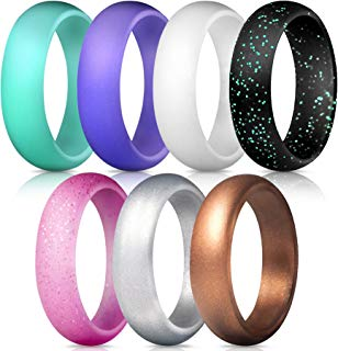 ThunderFit Silicone Rings, 7 Rings / 1 Ring Wedding Bands for Women - 5.5 mm Wide
