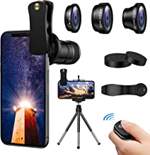 4 in 1 Phone Camera Lens,12X Telephoto Lens +Fisheye + Wide Angle+ Macro Lens, Clip-On Lenses for iPhone 8 7 6 Plus, Samsung Smartphone + Remote Shutter