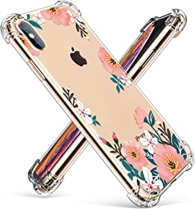 GVIEWIN for iPhone Xs Case/iPhone X Case, Clear Flower Design Soft & Flexible TPU Bumper Shockproof Cover for Women Girls, Cute Floral Pattern Phone Case 5.8 Inch (Summer Blossom/Pink)