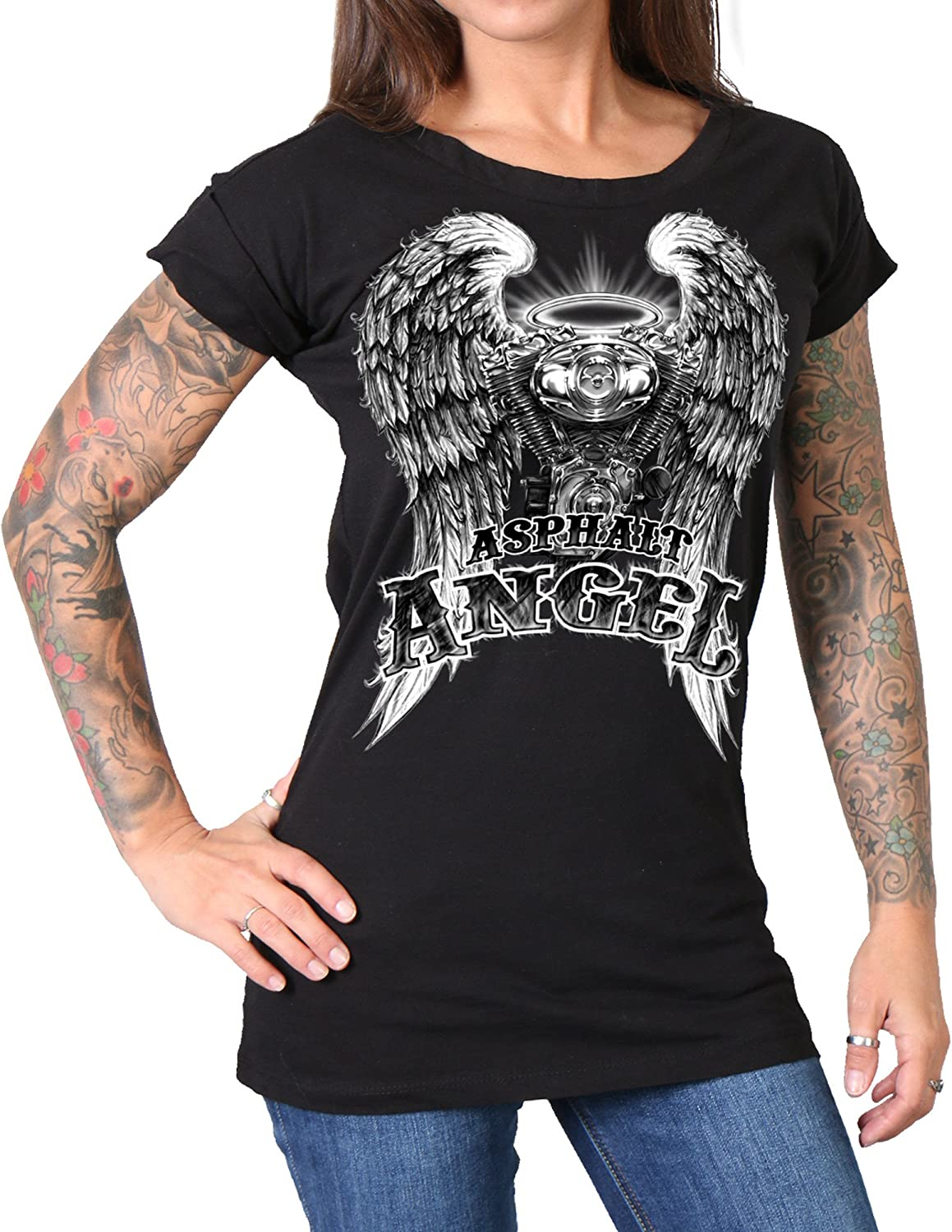 Heather Red, Large Hot Leathers Sparkle Wings Womens V-Neck Biker T-Shirt