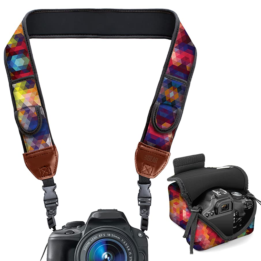 USA GEAR Neoprene Camera Strap and Camera Case Geometric with Quick Release Buckles and Accessory Storage Pockets - Compatible with Canon, Fujifilm, Nikon, Olympus, Sony and More Cameras