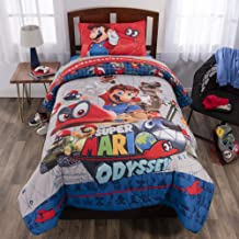 4 Piece Twin size Super Mario Bedding Set - Includes 3pc Twin Sheet Set and 1 Twin/F Comforter