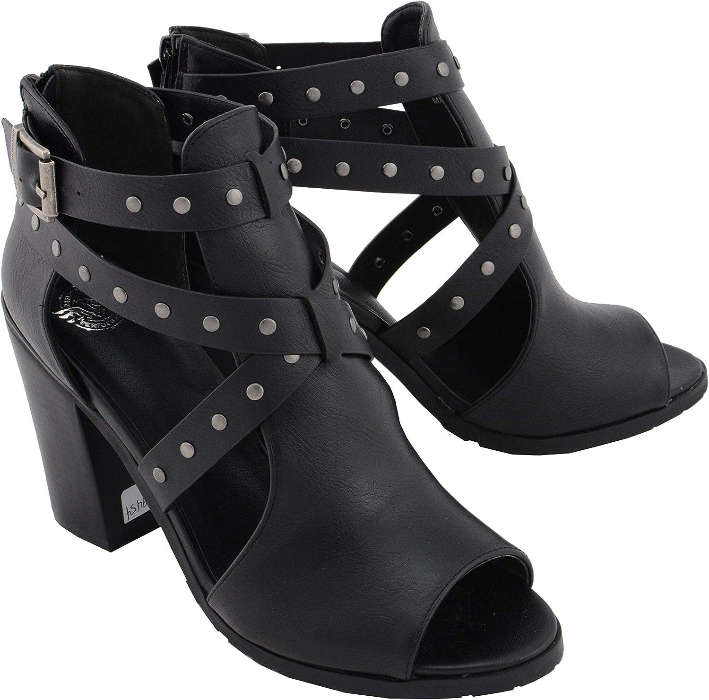 Milwaukee Leather MBL9454 Women's Heel Black Studded 2021 model Sanda Strap Max 66% OFF