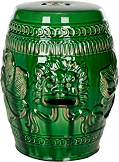 Safavieh Castle Gardens Collection Green Glazed Ceramic Chinese Dragon Garden Stool