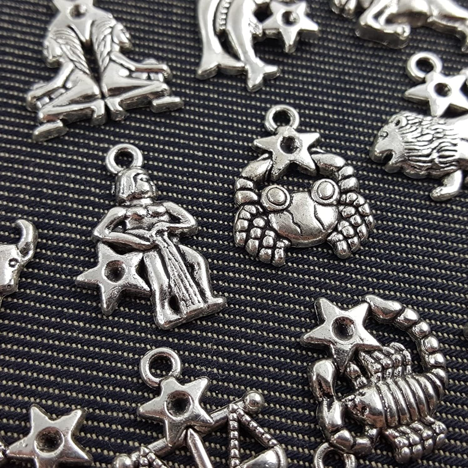 12 Antique Silver Plated Zodiac all Constellation Charm Zinc Alloy Pendant (NS523 M002)
