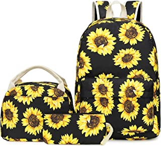Canvas Sunflower Backpack for Women Teen Girls College Bookbag Lightweight Floral Laptop Backpack Fits 14 Inch Laptop Bag