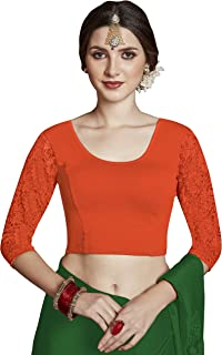 crazy bachat Women's Readymade Indian Designer Orange Color 3/4 net Stretchable Blouse for Saree Crop Top