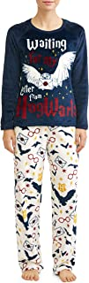 Richard Leeds Women's Hogwarts Letter Minky Fleece Long Sleeve Pajama Set