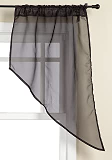 Stylemaster Elegance 56 by 38-Inch Sheer Voile Swag Pair, Onyx