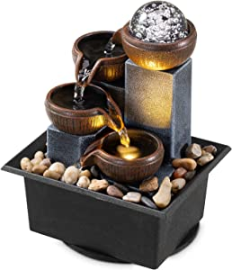 Tabletop Fountain 4 Level Tabletop Waterfall Meditation Fountain Indoor Fountain Office Home Relax Desktop Fountain Pool Includes Many Natural River Rocks LED Lights Fixed Decorative Bubble Ball