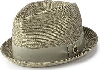 e1974b0854d MONTIQUE Braided Straw Stingy Brim Pinch Fedora Hat Matching Grosgrain Band  H-55