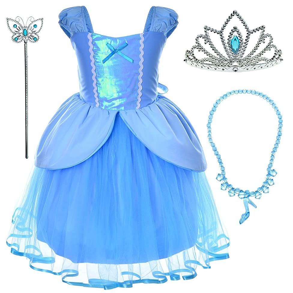 Princess(Snow,Belle,Little Mermaid,Anna,Cinderella,Rapunzel) Costume For Toddler Girls Birthday 2T-6T