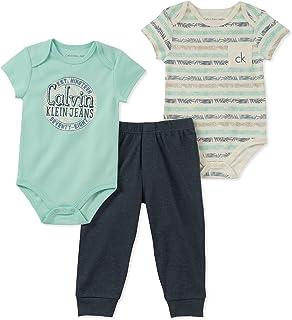 Calvin Klein Baby Boys 3 Pieces Creeper Pant Set