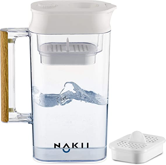 Nakii Water Filter Pitcher - Long Lasting (150 Gallons) | Supreme Fast Filtration and Purification Technology | Removes Chlorine
