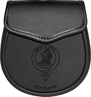 Pentland Leather Day Sporran Scottish Clan Crest