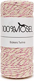 100% Mosel Kordel in Natur-Weiß mit Pink 1 mm x 100 m, Baumwollschnur mit Metallicfaden, Bäckergarn als Geschenkband, Goldband, Dekokordel, Bastelschnur