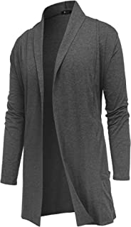 RAGEMALL Men's Cardigan Ruffle Shawl Collar Cardigan Open Front Blend Long Length Drape Cape Overcoat