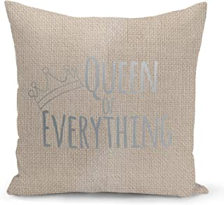 Queen of everything Beige Linen Pillow with Metalic Silver Foil Print Girls Couch Pillows
