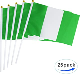 25 Pack Hand Held Small Mini Flag Nigeria Flag Nigerian Flag Stick Flag Round Top National Country Flags,Party Decorations Supplies For Parades,World Cup,Festival Events ,International Festival
