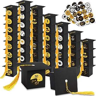 48 Pieces Graduation Cap Boxes with 2021 Graduation Stickers Grad Cap Candy Boxes with Tassels Graduation Party Supplies D...