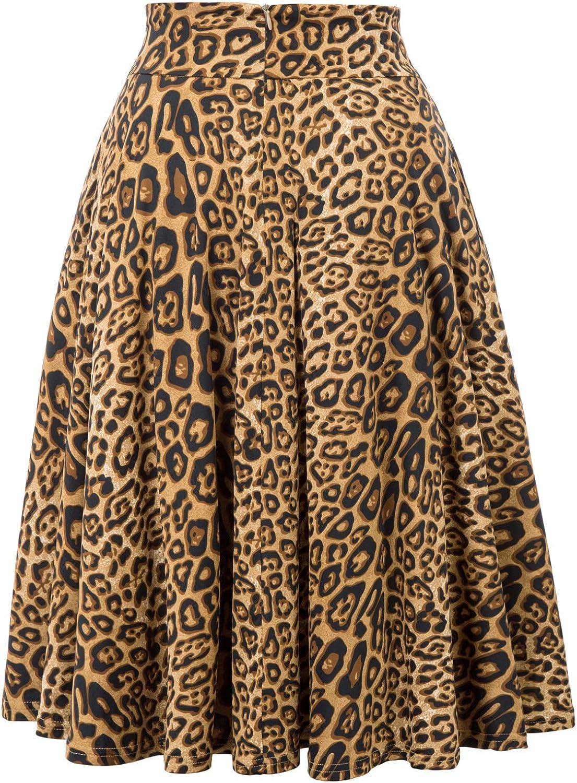 Belle Poque 50s Retro Vintage Rockabilly Rock Damen Knielang Festliche Röcke BP560 Bp946-1(leopard)