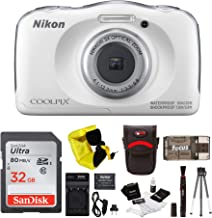 Nikon COOLPIX W100 Waterproof Digital Camera (White) + 32GB Card + Battery with Charger + Kit