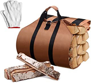 Syhood 2 Sets Fireplace Carrier Bag Waterproof Firewood Carrying Canvas Tote with 2 Pairs of Gloves for Fireplace Stove Ac...
