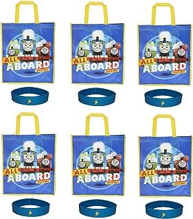 6 Pack Thomas & Friends Large Reusable Tote Bags Party Favor Goodie Treat Bags 6 Bracelets