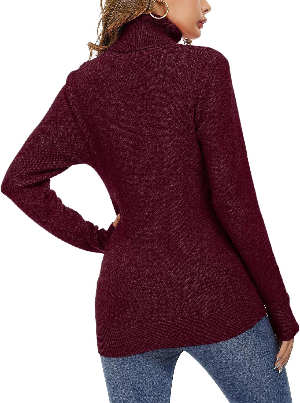 Aibrou Damen Rollkragen Pullover, Rollkragenpullover Strick Pulli Dehnbarer Strickpullover mit Langen Ärmeln und Schrägen Streifen Weinrot