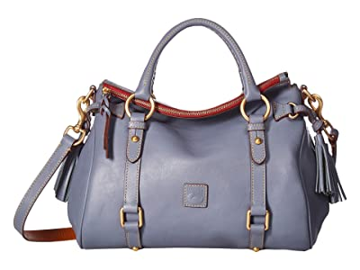 Dooney & Bourke Florentine Small Satchel (Steel Blue/Steel Blue Trim) Handbags