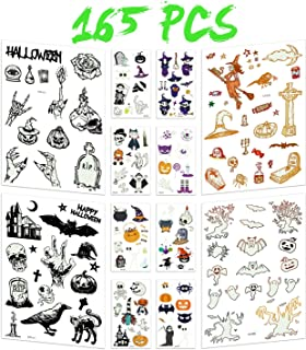 Joyjoz Halloween Tattoos,Halloween Stickers Glow in The Dark for Kids,Adults, Temporary Tattoos with Halloween Pumpkin, Bat, Witch, Ghost , Party Favor, Bottles, Halloween Decoration (12 Pack)