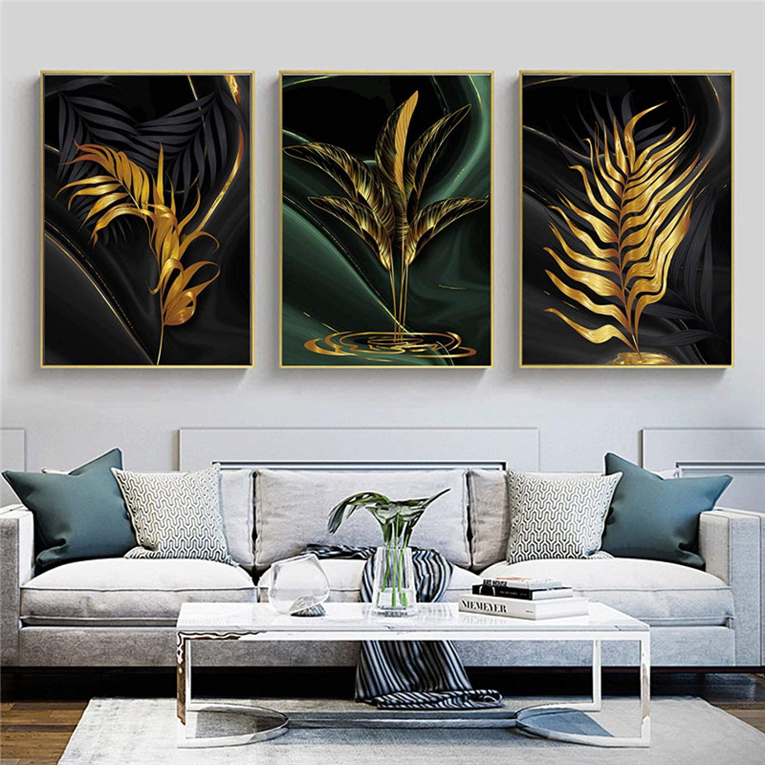 Canvas Art Print Max 51% OFF Spring new work one after another Wall Gold and Ca Leaves Style Fashion Green