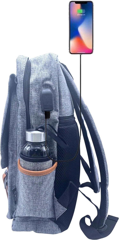 MOCHI COOL Mochila mujer hombre para portatil y trabajo con puerto usb escolares y tactica con estilo vintage casual y unisex impermeable ✚ Botella agua cristal