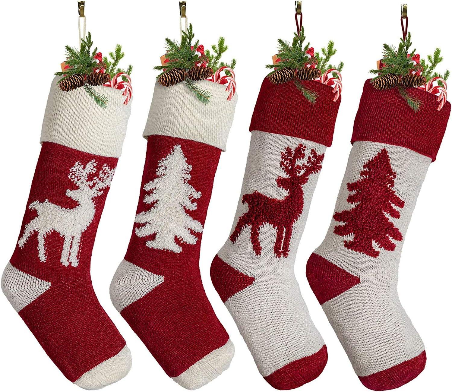 Max 76% OFF Yuokwer Set of 4 Big Size Stockings shopping 18-Inch Christmas Extra Lon